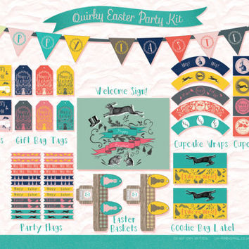 Modern Vintage Easter Printable Party DIY Kit