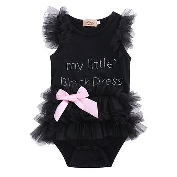 Cute Kids Newborn Infantil Baby Girls Bow Clothes Embroidered Little Black Dress Fashion Letter Romper Jumpsuit Clothing