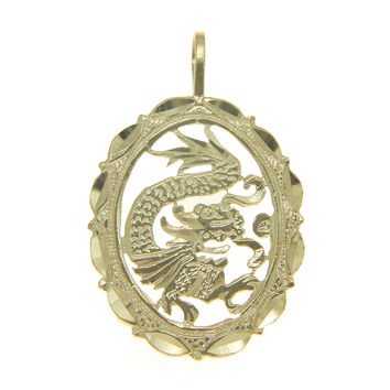 SOLID 14K YELLOW GOLD DIAMOND CUT DRAGON DESIGN PENDANT OVAL 15MM