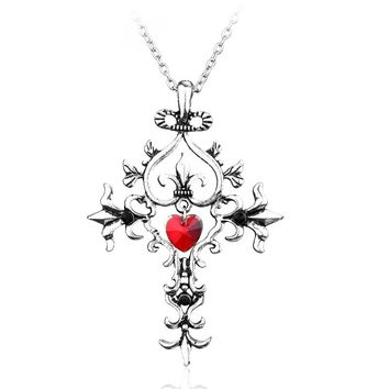 New The Vampire Diaries Gothic Punk Love Heart Long Chain Mens Cross Necklaces & Pendants Fashion Men Jewelry Gift