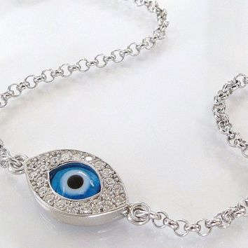 Protective Evil Eye Bracelet As Seen On Kim Kardashian And Kelly Ripa from theresaminkdesigns on Ruby Lane
