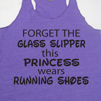 Forget The Glass Slipper This Princess Wears Running Shoes Gym Motivational Exercise Workout Tank Top