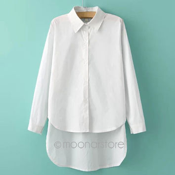 White Shirt 2015 Blending Long-Sleeved Irregular Shirts Women All Season Asymmetric Top Shirt PE3325*50