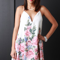 Chiffon Floral Print Sleeveless Sweetheart Mini Dress