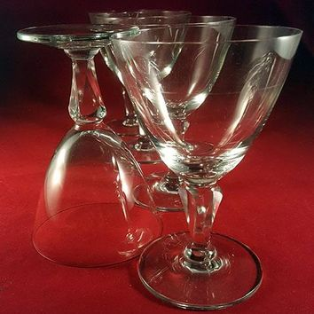 Set of 4 Crystal Goblets / Glasses Cut Faceted Stem