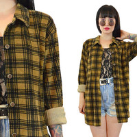 vintage 90s plaid velvet duster jacket soft grunge Seattle slouchy oversized shirt menswear small medium