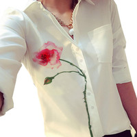 White Rose Print Sleeve Button Collar Shirt
