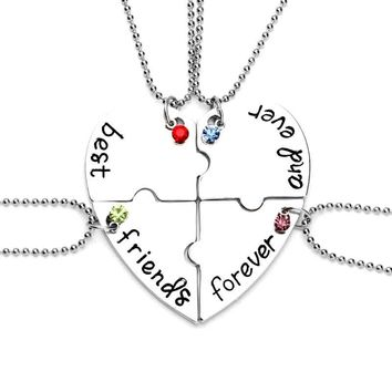 best friends forever and ever BFF Necklaces 4 pcs beads chain crystal jigsaw puzzle necklace friendship jewelry for bestfriend