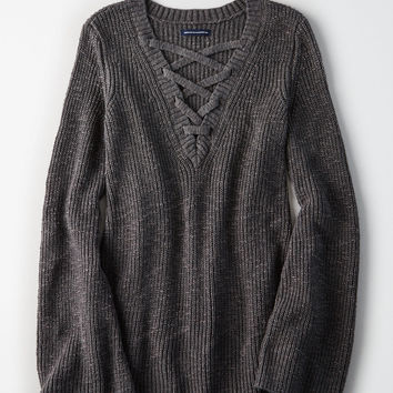 AE Chunky Lace-Up Pullover, Charcoal