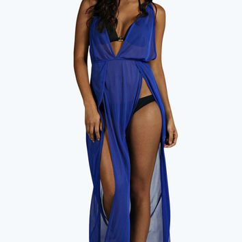 Petra Beach Mesh Split Front Maxi Dress