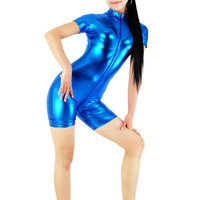Blue Shiny Metallic Front Zipper Catsuit - $25.99