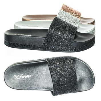 Viste04 by Forever Link Glitter Slide In PVC Molded Footbed Flatform Sandal Slippers
