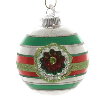 Shiny Brite HS ROUNDS WITH REFLECTORS. Christmas Ornament Stripes 4027374S Red