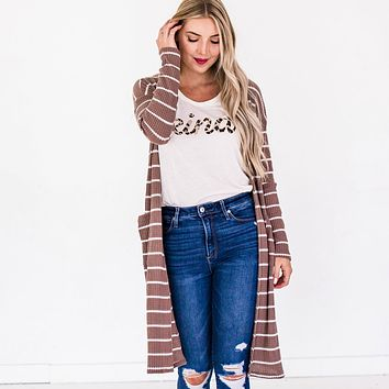 Thermal Striped Cardigan | Waffle Knit Long Cardi with Stripes