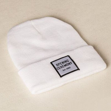 Opening Ceremony Patch Beanie Knitted Ski Cap Autumn Winter Warm Fashion White Cuffed Skully Hat