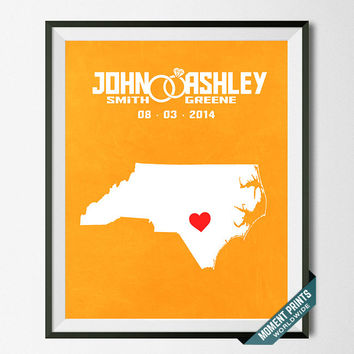 Personalized, Print, North Carolina, Wedding, Anniversary, Customized, Couple, Gift, Map, Custom, Wall Art, Home Decor, Marriage [NO 32]