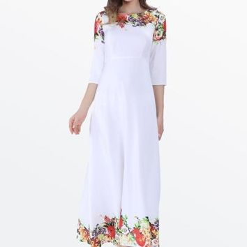 White 3/4 Sleeve Print Women's Maxi Dress
