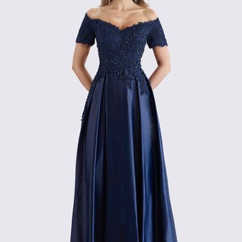 Feriani Couture - 18657 Beaded Off Shoulder Pleated Evening Gown