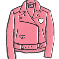 BANANNA BONES PINK LEATHER JACKET ENAMEL PIN