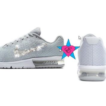 Gray Nike Air Max Sequent 2 Women Rhinestone Bling Nike