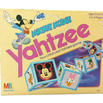 Vintage Mickey Mouse Yahtzee, 80s Board Games, Disney Toys, Milton Bradley, Family Game Night, Kids, Minnie Mouse, Daisy Donald Duck, Goofy