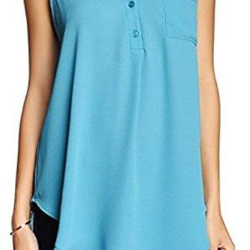 Women's Lush Teal Blue V-Neck Blouse Tunic, Size Small