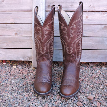 TALL Justin western boots / size 7.5 C EU 38 / brown Justin cowgirl boots / Justin cowboy boots / made in USA