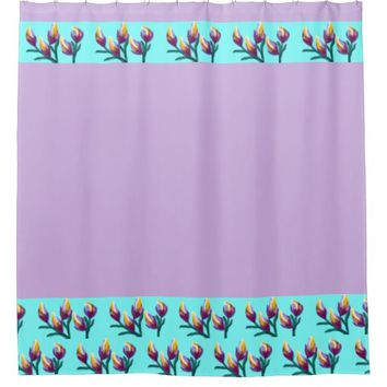 """Tulip Flower Buds"" Shower Curtain"