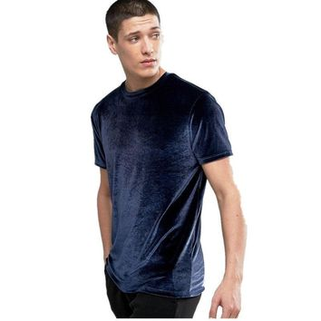 Solid Colors Velvet Men Longline Shirts Extra Long Oversized Tall Tees