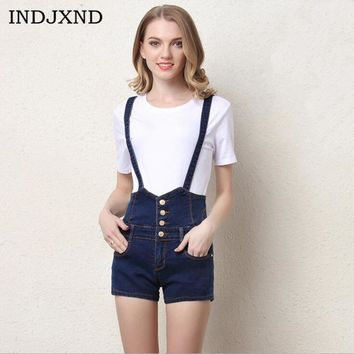 INDJXND 2017 New Casual Women 4 Buttons Denim Shorts Feminino High Waisted Shorts Overalls Solid Blue Jeans Short Plus Size 4XL