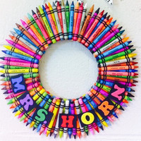 Crayon Wreath for School Teacher Classroom Decor (with teacher's name or initials)