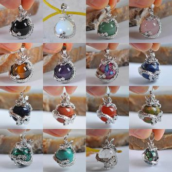 Free shipping Black Carnelian,Opal,Rose Crystal,Tigereye,Purple Crystal Stone Pendant Dragon Jewelry