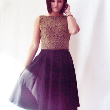 LBD / Little Black Dress / Black and Gold HOLIDAY Dress / Black Silk Dress / Cocktail Party Dress / Gold and Black