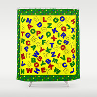 Primary Polka Dots GREEN Alphabet Shower Curtain by MargaretNewcombArt
