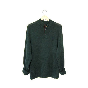 vintage oversized green henley sweater BOYFRIEND pullover elbow patches OVERSIZED cozy knit Preppy Chaps Sweater / men's size XXL