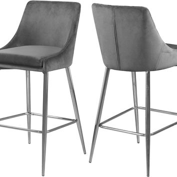 Karina Grey Velvet Stool (set of 2)