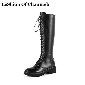 New Platforms Block Heels Big Size 43 Dr. Marten Boots for Women Lace up Warm Winter Knee High Boots Ladies Motorcycle Boots New