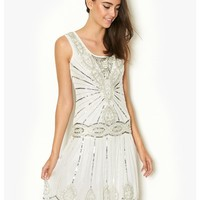 Frock & Frill Embellished Short Flapper Dress - 1920s inspired vintage white mesh overlay with sequin embellishment flapper dress