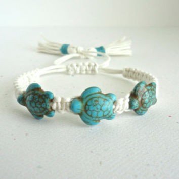 Blue Turquoise Turtle Cream Cotton Cord With Tassels Macrame Bracelet Chic Trendy Jewelry