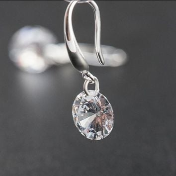 SALE Fashion jewelry 925 silver new crystal from Swarovski Feather high-grade temperament circle anti allergy earrings