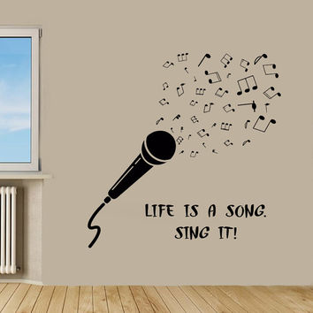 Microphone Wall Decals Music Wall Quotes Life Is A Song Sing It Vinyl Sticker Word Home Decor Vinyl Art Wall Decor Nursery Room Decor KG545