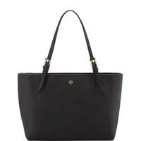 Tory Burch York Small Saffiano Tote Bag, Black LAVELIQ