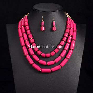Nigerian Wedding Indian Jewelry Set Bride Accessories Three Layer Sets DG565