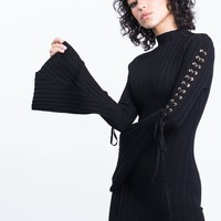 Flared Sleeves Sweater Dress