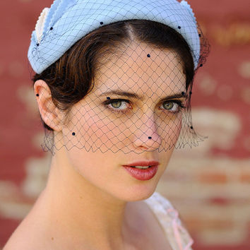 Wedding Hat- 1930's light blue and eggshell white- netting is optional