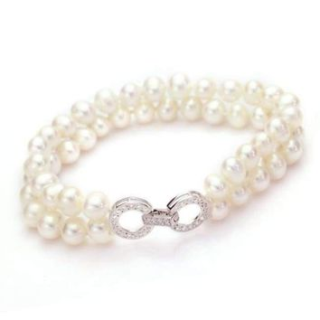 925 Sterling Silver Clasp Natural Freshwater Pearl Bracelet