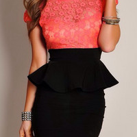 Orange Peplum Floral Dress