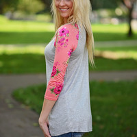 Coral Sleeve Floral Top