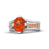 Oval Fire Opal 14K White Gold Ring with Fire Opal & Diamond