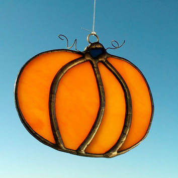 Stained Glass Fall Thanksgiving Pumpkin Window Ornament Free Shipping